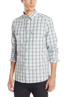 Kenneth Cole Men's Long Sleeve Check Elbow Patch Shirt