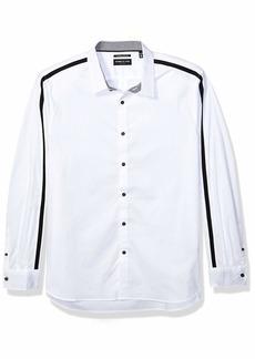 Kenneth Cole Men's Long Sleeve Crew Neck Arm Stripe Shirt