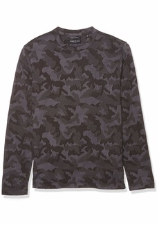 Kenneth Cole Men's Long Sleeve Crew Neck Camo Jacquard Shirt