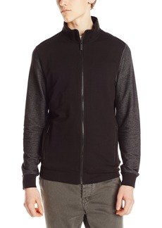 Kenneth Cole Men's Long Sleeve Herringbone Full Zip Shirt