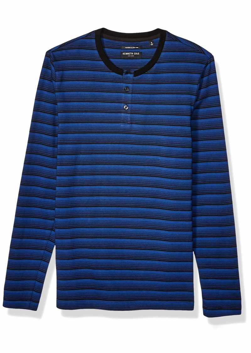 Kenneth Cole Men's Long Sleeve Striped Henley Shirt