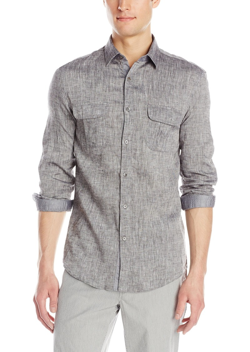 Kenneth Cole Men's Long Sleeve Two Pocket Linen Shirt