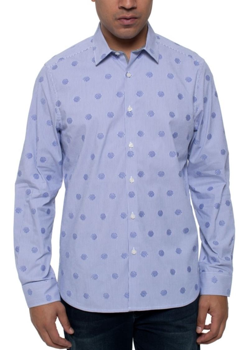 Kenneth Cole Men's Mirror Stretch Dot Stripe Shirt