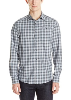 Kenneth Cole New York Men's Checkered Long-Sleeve Button-Front Shirt