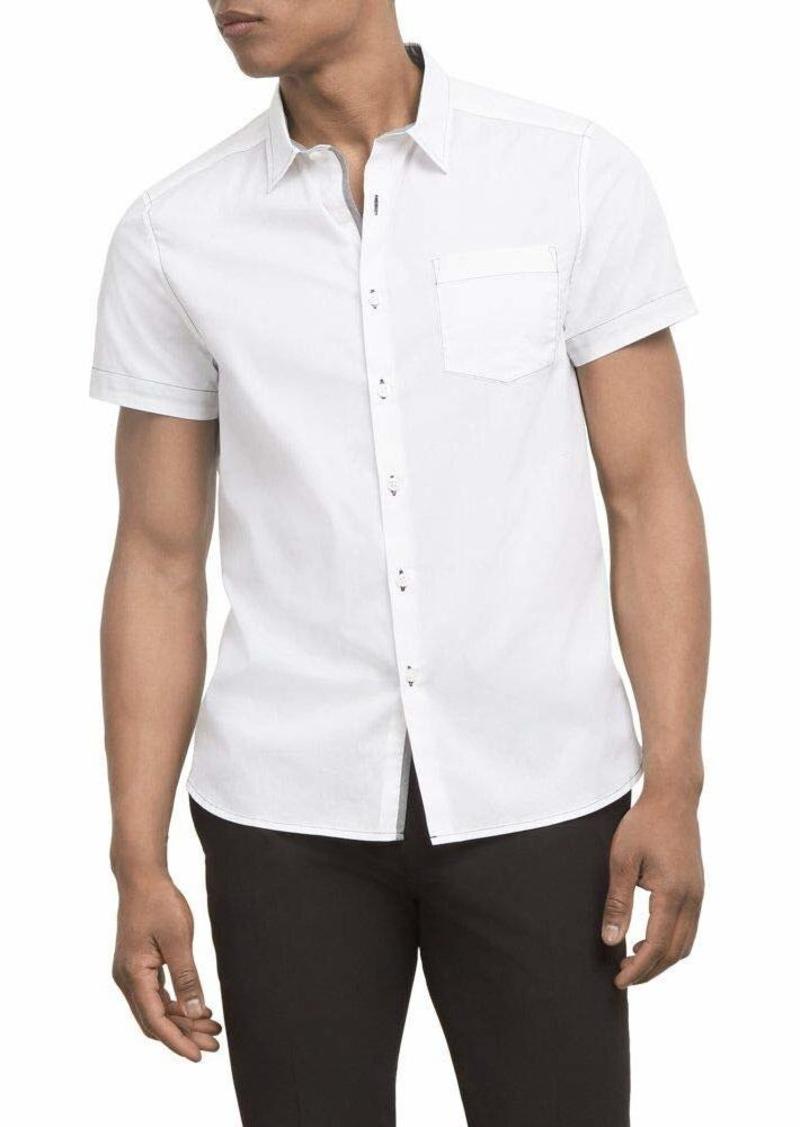 Kenneth Cole Men's Short Sleeve Button Up Contrast Topstitch Shirt