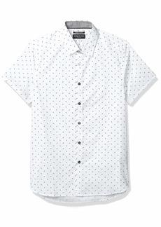 Kenneth Cole Men's Short Sleeve Button Up Lightning Bolt Print Shirt