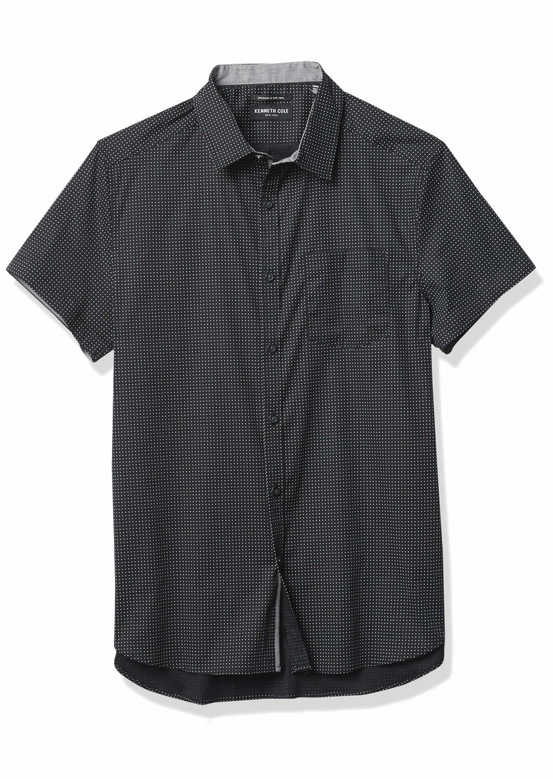 Kenneth Cole Men's Short Sleeve Button Up One Pocket Mini Dot Print Shirt