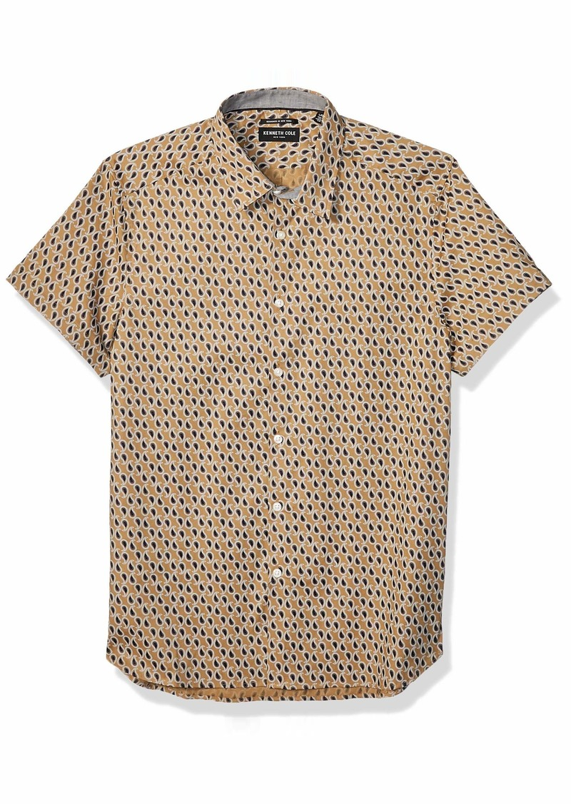 Kenneth Cole Men's Short Sleeve Button Up Paisley Print Shirt