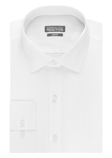 Kenneth Cole Men's Slim Fit Solid Dot Spread Collar Dress Shirt