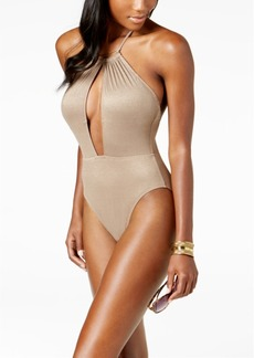 Kenneth Cole Metallic Tummy-Control Halter One-Piece Swimsuit Women's Swimsuit