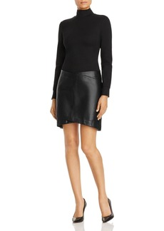 Kenneth Cole Mixed Media Mock-Neck Dress