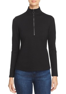 Kenneth Cole Mock Neck Zip Ponte Top