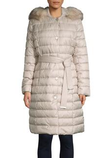 Kenneth Cole New York Belted Faux Fur Trim Walker Coat