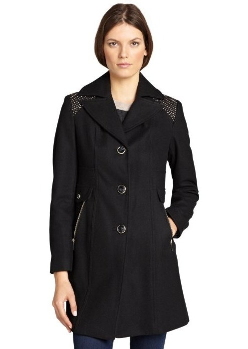 Kenneth Cole New York black wool blend stud embellished button front jacket