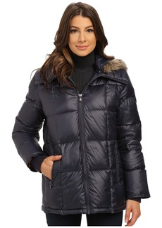 Kenneth Cole New York Cheveron Quilt Down Jacket w/ Faux Fur Trim Hood