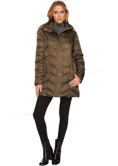 Kenneth Cole New York Chevron Quilted Coat with Fur Hood