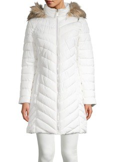 Kenneth Cole New York Chevron Quilted Faux Fur Trimmed Jacket