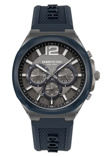 Kenneth Cole New York Chronograph Silicone Strap Watch, 43.5mm