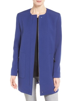 Kenneth Cole New York Collarless Oxford Cloth Coat