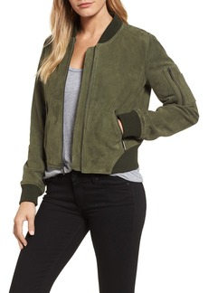 Kenneth Cole New York Crop Suede Bomber Jacket