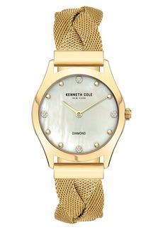 Kenneth Cole New York Diamond Accent Braided Mesh Bracelet Watch, 34mm