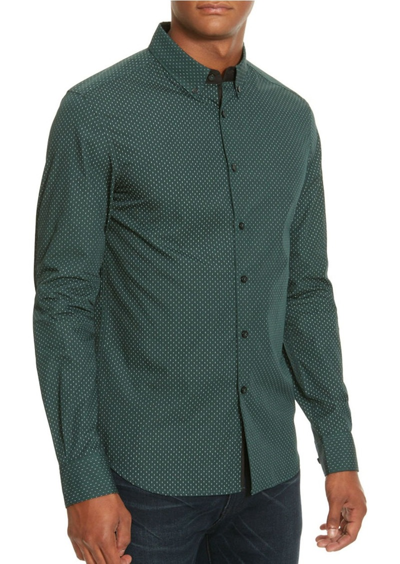 KENNETH COLE NEW YORK Dot Printed Slim-Fit Cotton Shirt