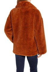 Kenneth Cole New York Double Breasted Faux Fur Jacket