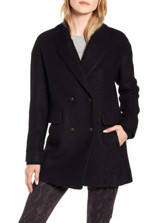 Kenneth Cole New York Double Breasted Rib Trim Pressed Bouclé Peacoat
