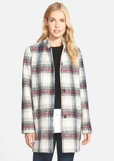 Kenneth Cole New York Drop Shoulder Plaid Wool Blend Coat