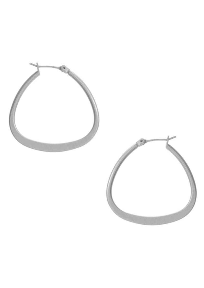 Kenneth Cole New York Earrings, Silver-Tone Pear Shaped Hoop