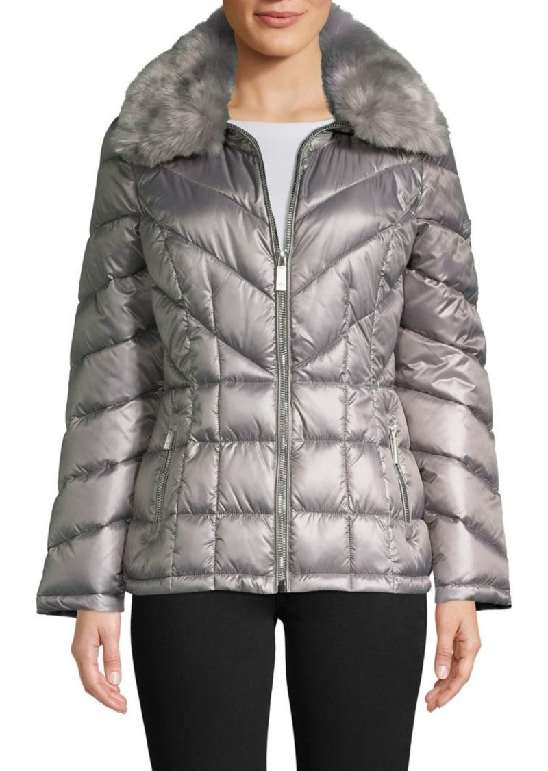 Kenneth Cole New York Faux Fur Collar Puffer Coats