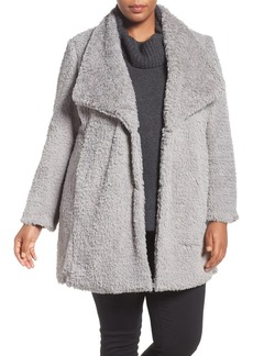 Kenneth Cole New York Faux Fur Drape Collar Coat (Plus Size)