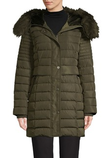 Kenneth Cole New York Faux Fur Hood Horizontal-Quilt Coat