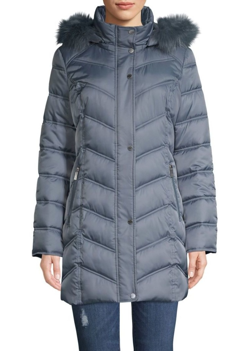 Kenneth Cole New York Faux Fur-Trim Hooded Coat