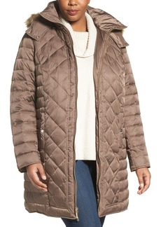 Kenneth Cole New York Faux Fur Trim Hooded Down & Feather Fill Coat (Plus Size)