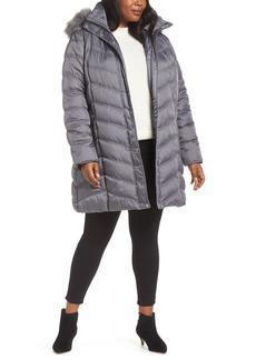 Kenneth Cole New York Faux Fur Trim Puffer Jacket (Plus Size)