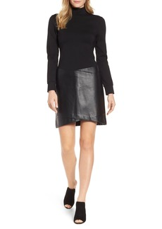 Kenneth Cole New York Faux Leather Mixed Media Dress