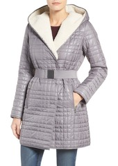 Kenneth Cole New York Faux Shearling Lined Puffer Coat