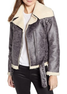 Kenneth Cole New York Faux Shearling Moto Jacket