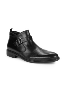 Kenneth Cole New York Garner Buckled Leather Cap-Toe Boots