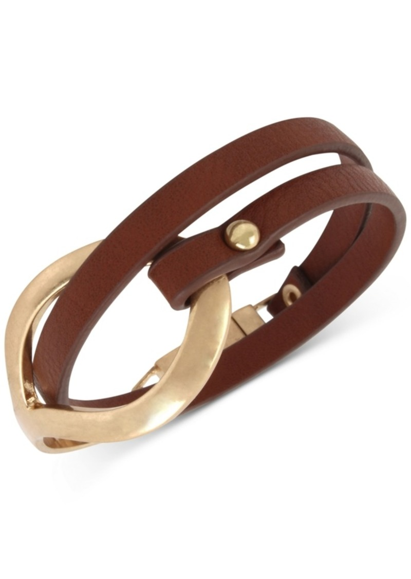Kenneth Cole New York Sculptural Brown Leather Double Wrap Bracelet