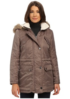Kenneth Cole New York Hooded Parka with Faux Fur Trim & Sherpa Lining