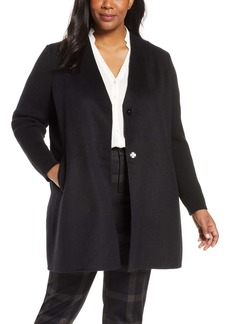 Kenneth Cole New York Knit Sleeve Wool Blend Coat (Plus Size)