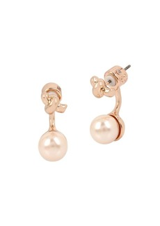 Kenneth Cole New York Knots and Pearls Faux Pearl and Crystal Front Back Earrings