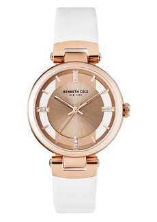Kenneth Cole New York Ladies Transparent White Leather Strap Watch 34mm
