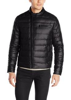 Kenneth Cole New York Men's Asymmetrical Down Moto Jacket  Medium