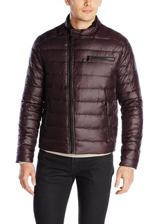 Kenneth Cole New York Men's Asymmetrical Down Moto Jacket  Small