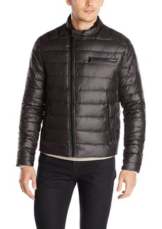 Kenneth Cole New York Men's Asymmetrical Down Moto Jacket  Small