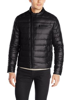 Kenneth Cole New York Men's Asymmetrical Down Moto Jacket  XX-Large