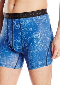 Kenneth Cole New York Men's Boxer Brief Sport Draft Drawing Blue